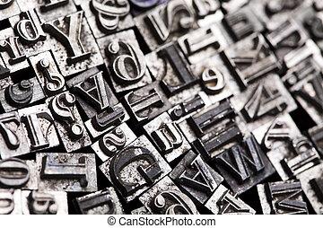 Letterpress blocks, isolated bright color theme