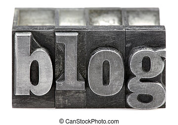 The word Blog in old letterpress printing blocks isolated on a white background.