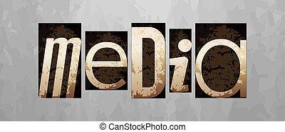 letterpress, conceito, mídia, vetorial, vindima, tipo