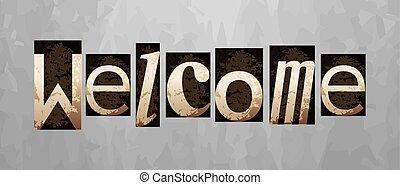 letterpress, conceito, vindima, bem-vindo, vetorial, tipo