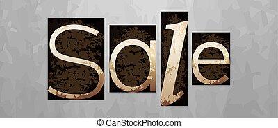 letterpress, conceito, vindima, venda, vetorial, tipo