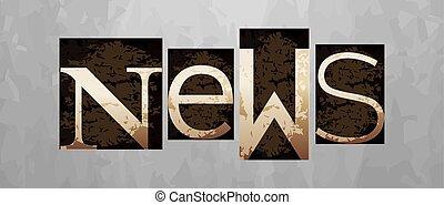 letterpress, conceito, vindima, vetorial, notícia, tipo