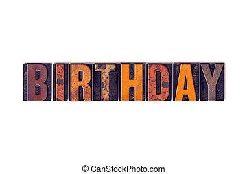 Letterpress, concetto, Tipo, isolato, compleanno