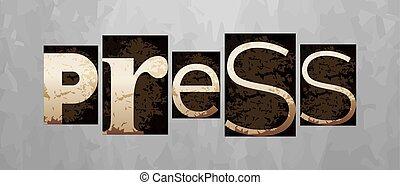letterpress, concetto, vendemmia, vettore, premere, tipo