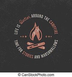 letterpress, effect., dark., design., acampamento, vindima, isolado, etiqueta, logotype., hipster, desenhado, texto, citação, ilustração, mão, t-shirt, aventura, campfire., textured, tipografia, vetorial, ao ar livre