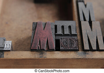 letterpress M close up