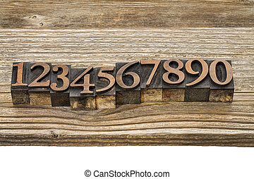 letterpress, número, abstratos