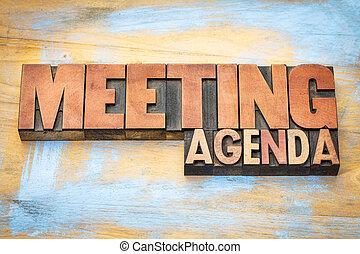 letterpress, riunione, legno, ordine del giorno, tipo, bandiera