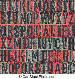 letterpress seamless pattern. Vector background