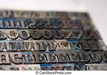 letterpress, tipo, blocos