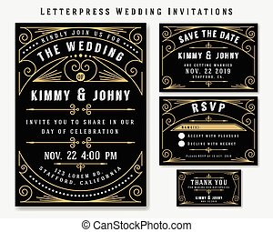 Letterpress Wedding Invitation Design Template. Include RSVP...
