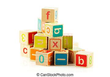letters., 立方体, アルファベット, 木製のおもちゃ, blocks.