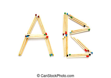 Letters A and B made of matches