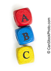Letters a b c on cubes