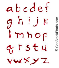 Letters A-Z dripping  blood on white background