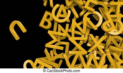 Letters alphabet characters fill screen transition capital...