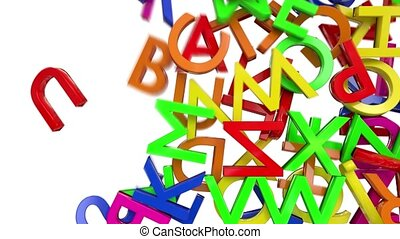 Letters alphabet characters fill screen transition capital type font book abc
