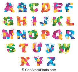 Letters alphabet painted by color splashes vector font