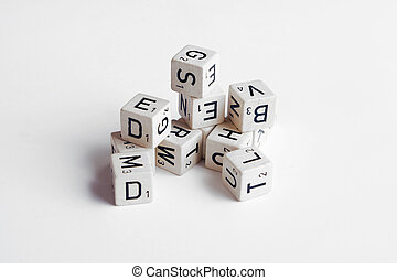 letters and numbers on cubes white background