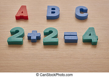 letters and numbers on the table