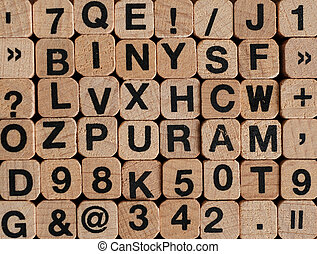 letters and numbers on wooden blocks / cubes - letterpress ,