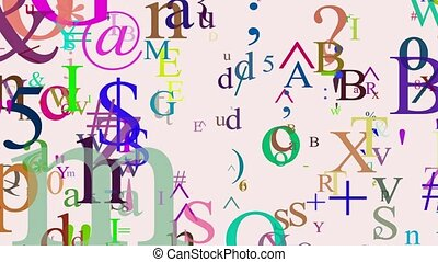 Letters and symbols various colors
