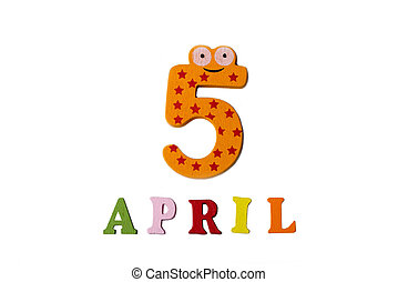 letters., avril, 5, nombres, fond, blanc