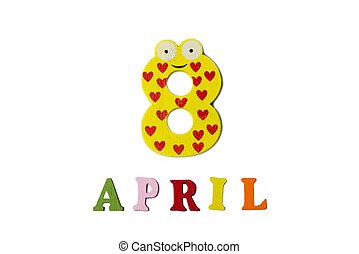 letters., avril, nombres, fond, 8, blanc