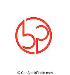 letters bp circle geometric line logo vector