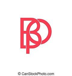 letters bp linked monogram line logo vector