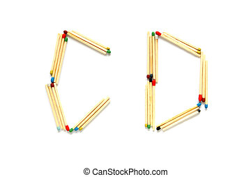 Letters C and D made of matches