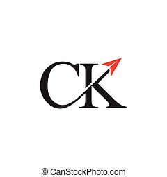 letters ck motion arrow logo vector