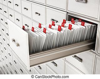 letters., de madera, cajón, catálogo, biblioteca, ilustración, 3d