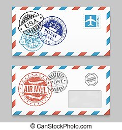 Letters design - envelopes with grunge style poststamps
