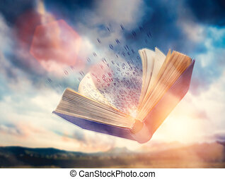 Letters flowing from an open flying book. Imagination