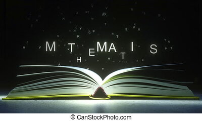 Letters fly off the open book pages to form MATHEMATICS text. 3D animation