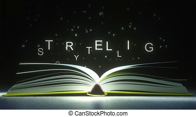 Letters fly off the open book pages to form STORYTELLING...