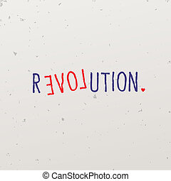 Word game with word revolution, vector Eps10 image.