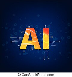 letters., illustration., ai, vector, intelligence., artificial