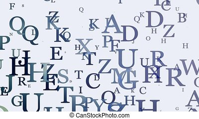 Letters in blue on white