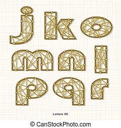 Letters in crossed mesh line shape lower case alphabet letters pattern.