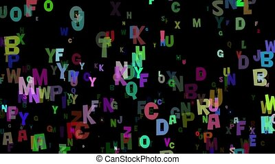 Letters in various colors on black
