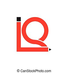 letters iq pencil design logo vector