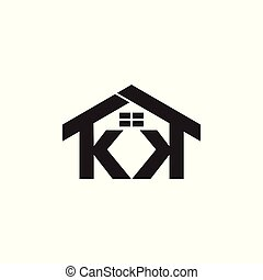 letters kk house windows design logo vector