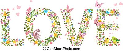 "letters ""love"" from spring flowers with flying butterflies and c"