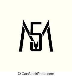 letters m5 simple geometric logo vector