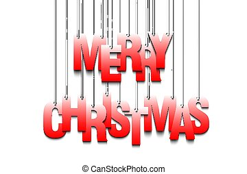 Letters Merry Christmas hanging on a ropes