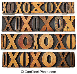 letters O and X in wood type