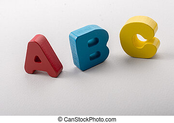 Letters of abc of alphabet on white color