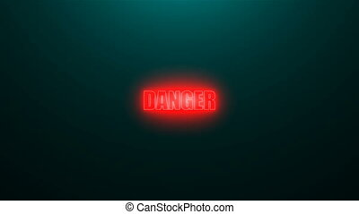 Letters of Danger text on background with top light, 3d render background, computer generating